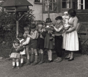 Rainer Maria Latzke (4th from left) with his siblings and mother, 1956