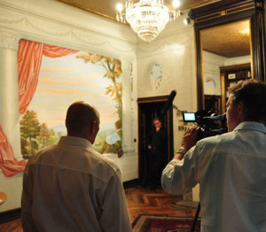 Filming for an ARD documentary in the library of Chateau Thal