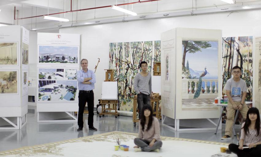 Latzke with students in his studio