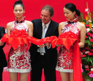 Latzke at the opening of his studio in the Beijing DeTao Masters Academy