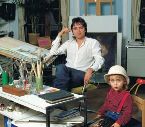 Latzke and son Rene in his studio