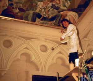 Latzke while painting the entrance hall