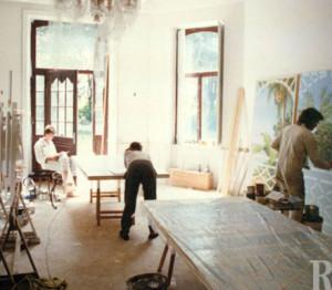 Latzke's assistants Uwe Fährmann, Steffanie Schüssler and brother Markus in the studio in Chateau Thal