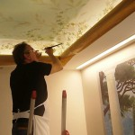The Frescography wall decoration can be continued on rounded ceilings